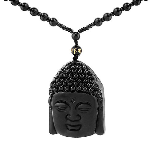 Black Obsidian Buddha Head Crystal Gemstone Pendant with necklace