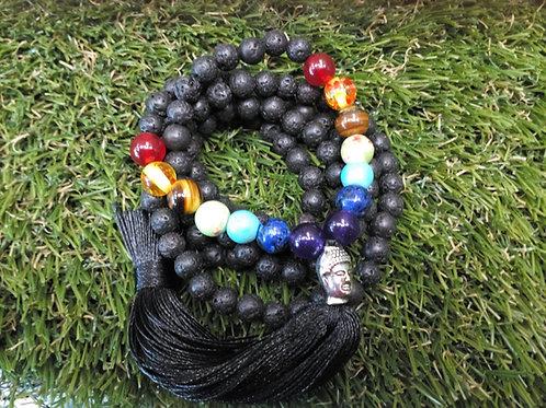 Lava stone 7 crystal chakra mala - Size 6 mm Beads