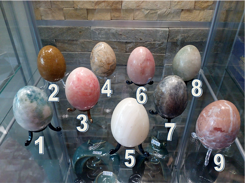Natural stone polished marble eggs with stand