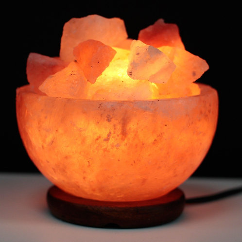 Himalayan Crystal Salt Lamp - Salt Fire Bowl and Chunks - Size 15cm x 15cm x 9cm