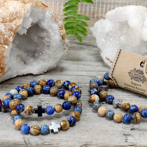 Support - Sodalite and Picture stone Crystal - Set of 2 Friendship Bracelets
