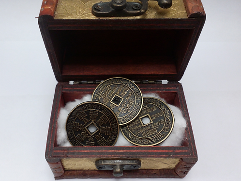 3 Good Luck Chinese Coins with Wooden chest case