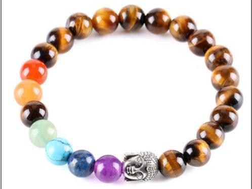 Tiger Eye Crystal Buddha bracelet - 7 Chakra