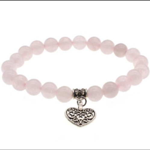 Rose quartz crystal - Heart bracelet