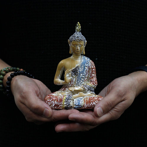 Thai Buddha - Protection - Terraccotta and Sky Blue 15 cm