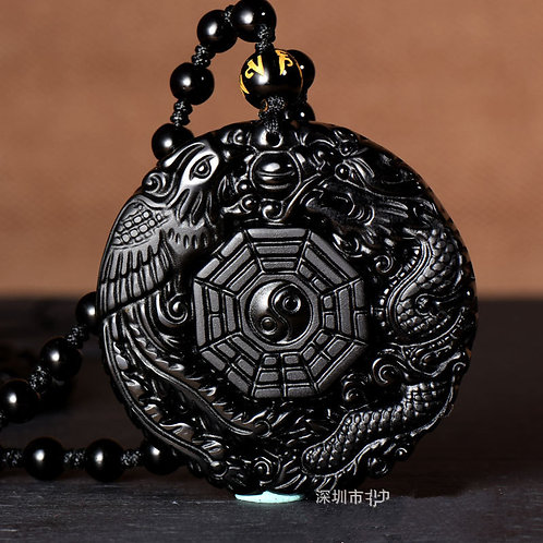 Black Obsidian Hand Carved Chinese Dragon Lucky Amulet Pendant
