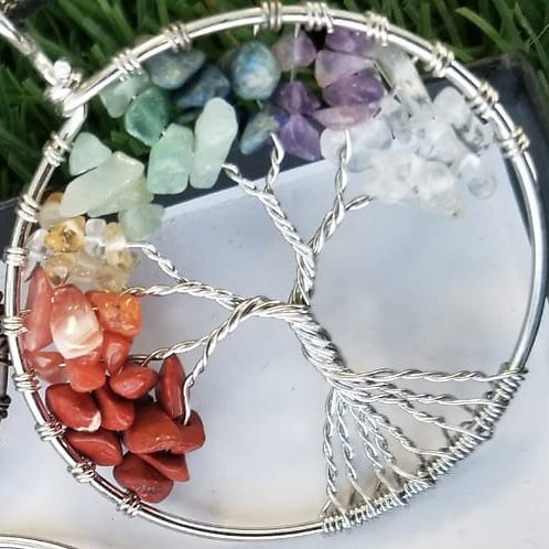 7 Chakra Tree of Life Crystal pendant with chain