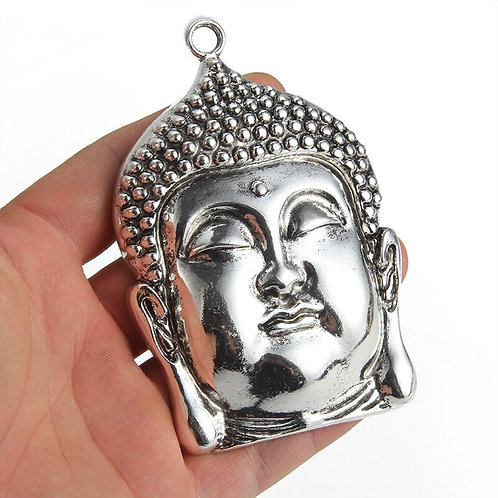 Silver Plated Large Buddha Head Pendant with leather chain