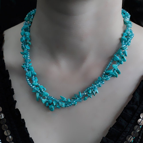Turquoise Crystal chip stone and Bead Necklace