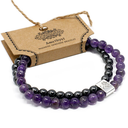 Amethyst​​​​​​​ Magnetic Crystal Gemstone Double Bracelet