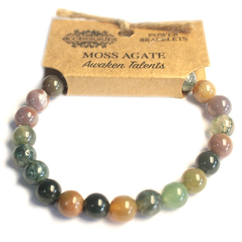 Power Bracelet - Moss Agate - For Awakening Talents