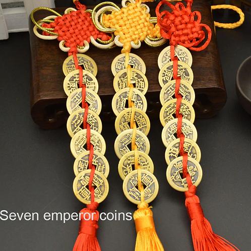 Chinese Copper Emperor Money 7 Coin Tassel