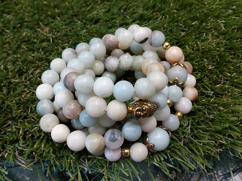 Amazonite Crystal bead mala Buddha bracelet - 8mm Beads