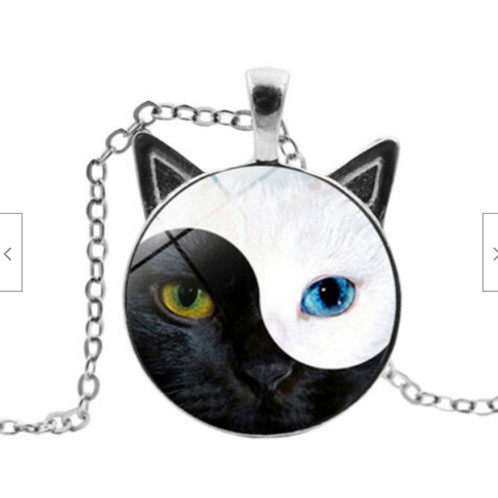 Yin Yang Cat Pendant with chain