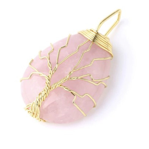 Rose Quartz Tree of life crystal Pendant with chain