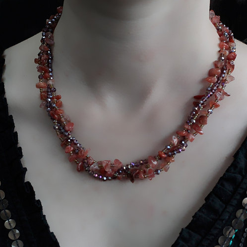 Red Agate Crystal chip stone and Bead Necklace