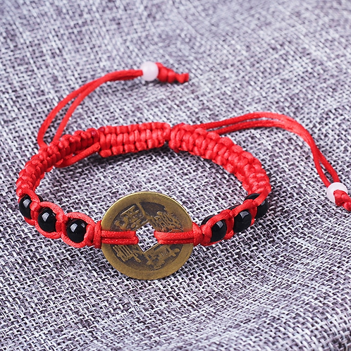 Good Luck Chinese Emperor Money Coin adjustable rope bracelet