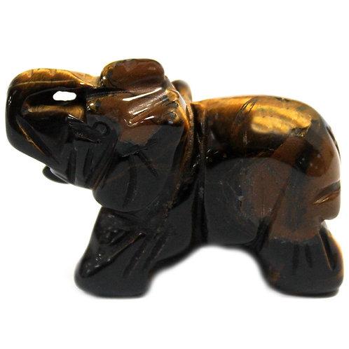 Crystal Elephant - Tiger Eye size 2 x 4 x 3 (cm)