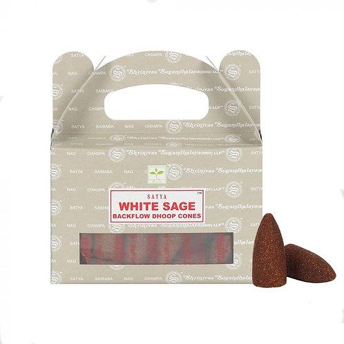 Satya Backflow Dhoop Cones - White Sage - 24 cones