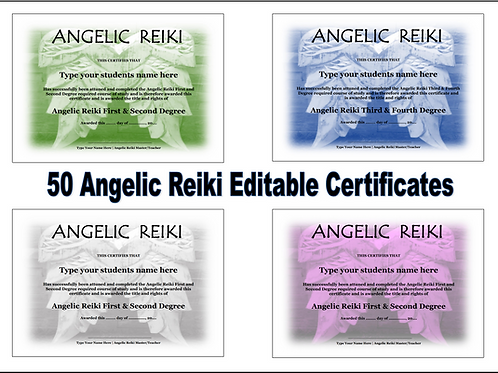 50 x Angelic Reiki (Editable) Certificate templates - Professionally designed.