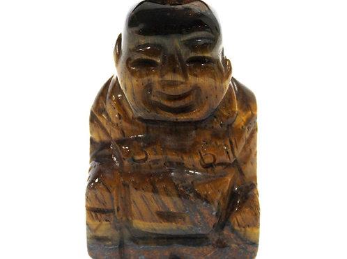 Crystal Buddha statue - Tiger Eye - Size 3.2 x 2 x 4.5 (cm)
