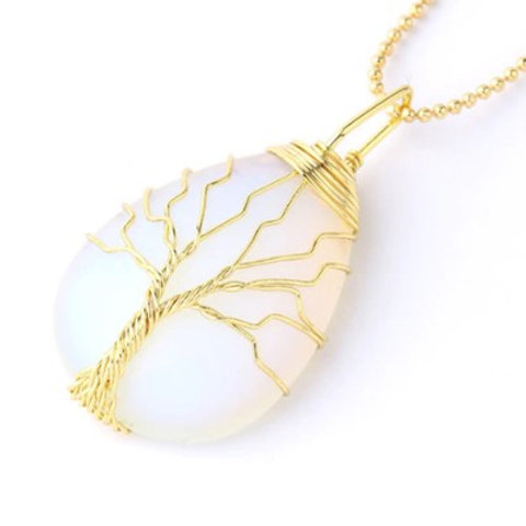 Opal Tree of life crystal Pendant with chain