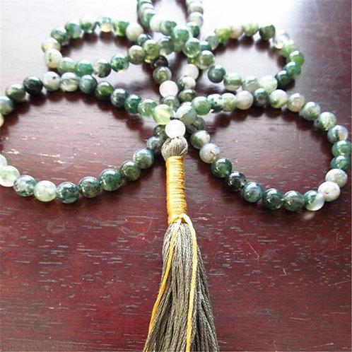 Moss Agate - Tibetan Buddhist 108 Beads Mala Bracelet - 8mm Bead size