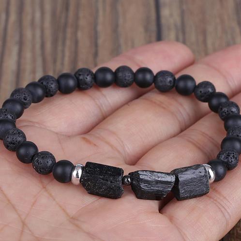 Black Tourmaline Gemstone Bracelet with Matte Onyx and Lava Stone beads