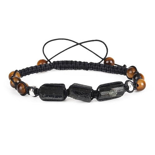 Black Tourmaline Bracelet with Tigers Eye beads - Adjustable