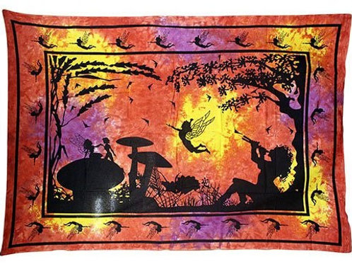 Indian Bedspread or wall art - Red/Orange Fairy Under Tree - (Size 225x151cm)