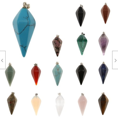 10 x Crystal Hexagonal Point Pendant with chains