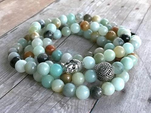 Amazonite Crystal bead mala Buddha bracelet - 108 Beads