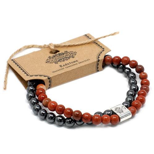Redstone Magnetic Crystal Gemstone Double Bracelet