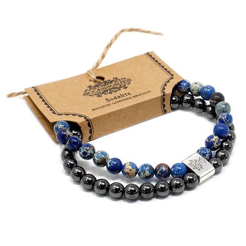 Sodalite Magnetic Crystal Gemstone Double Bracelet