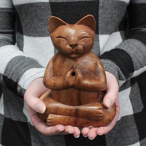 Large Wooden Yoga Cat Hand Carved Incense Burner - size 7.5x12x17 (cm)