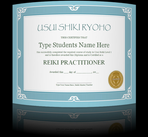 Give Your Students A Professionally Made Reiki 1 Certificate