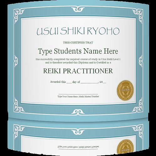 25% OFF - Reiki 1 certificate template