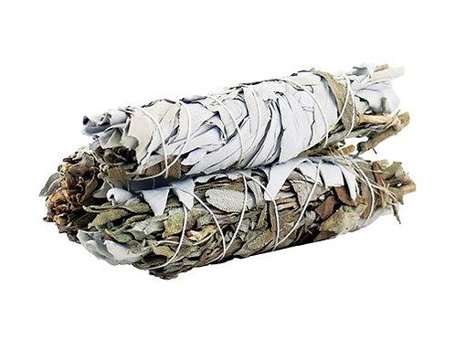 Smudge Stick - White and Black Sage - 10 cm approx.