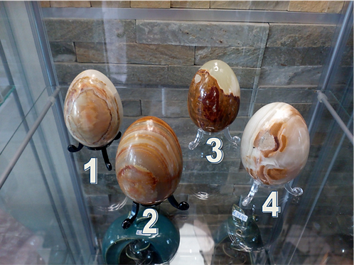Onyx stone polished Eggs with stand