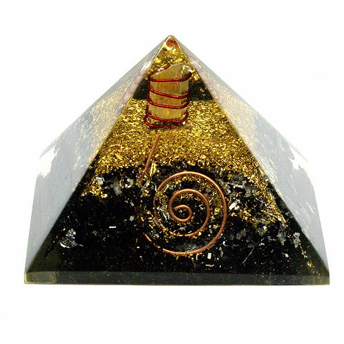 Large Orgonite Pyramid Black Tourmaline - Size 55mm
