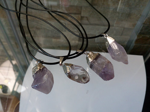Amethyst Crystal Pendant with a Leather chain
