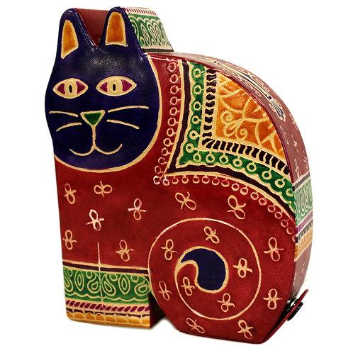 Leather Cat Money Box – Large size: 16 x 13 x 4 (cm)