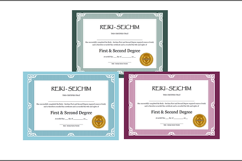 12 x Reiki - Seichim Level 1 and 2 and 3 Master/Teacher (Editable) Certificates