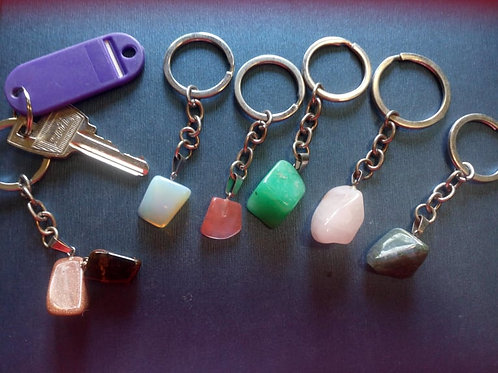 Crystal gemstones on a keyring - 12 different crystals to choose from