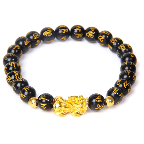 Chinese Pi Yao (Pi Xiu) Obsidian gemstone Bracelet - 8mm bead size