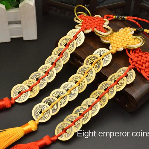 Chinese Copper Emperor Money 8 Coin Tassel