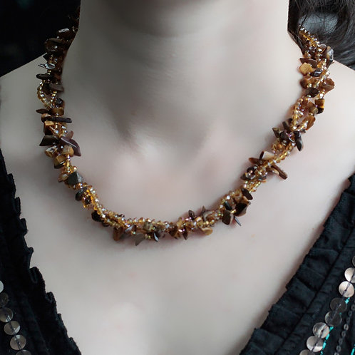 Tiger Eye Crystal chip stone and Bead Necklace