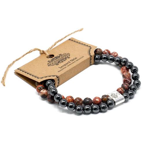 Leopard Skin Magnetic Crystal Gemstone Double Bracelet