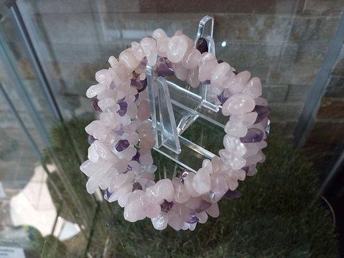 Rose Quartz and Amethyst crystal bracelet