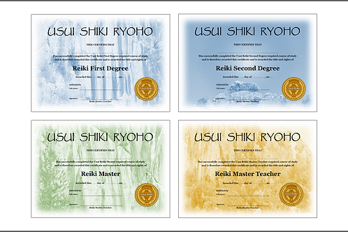 32 x Reiki Certificate templates - Professionally designed and Ready for Print